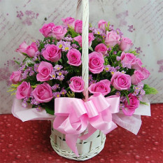 24 roses flower basket A (Small)