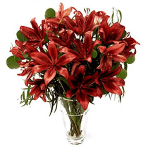 10 Red Lilies Vase