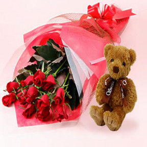 12 Roses and Teddy Bear