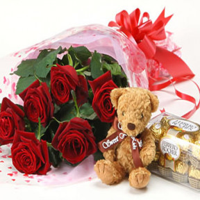 6 Roses chocolate and Bear