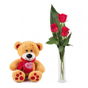 First Love: 3 Red Roses And A Teddy (Basic )
