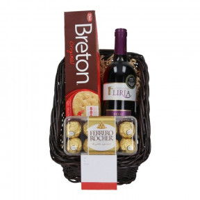 Basket with Wine, chocolates and cookies