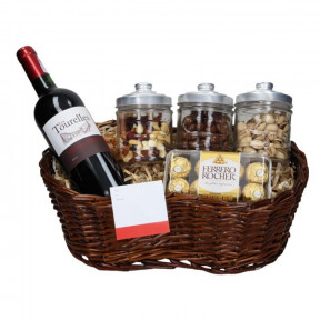 Basket Red Wine and Chocolates
