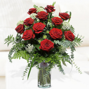 Arrangement Of 18 Red Roses (With Vase)