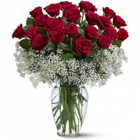 Bouquet Of 24 Red Roses (With Vase)