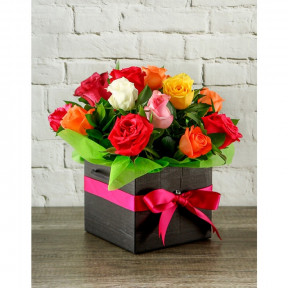Multicolored Roses Box (30 roses)