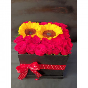 Roses & Sunflowers In Box (24 Roses )