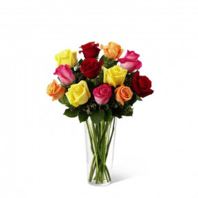 Bouquet Of Multicolored Roses (Premium)