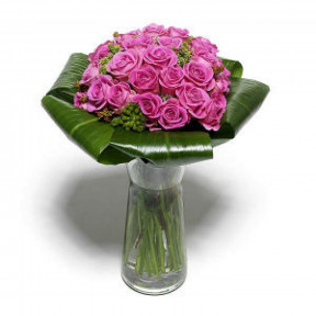 Bouquet Of 24 Lilac Roses (With Vase)