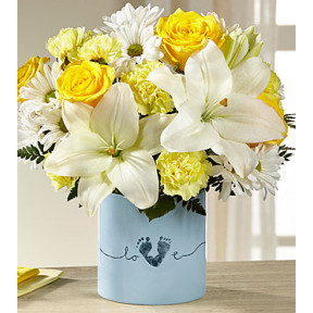 Tiny Miracle New Baby Boy Bouquet - VASE INCLUDED (GOOD)