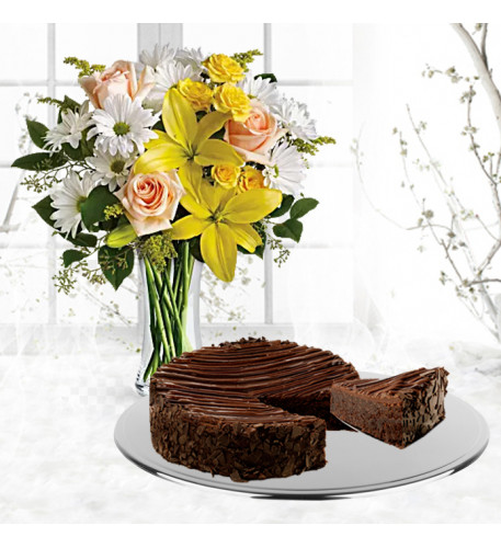 Daisies and Sunbeams With Triple Chocolate Enrobed Brownie Cake
