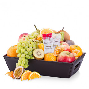 Classic Leather Fruit Hamper and Chocolate