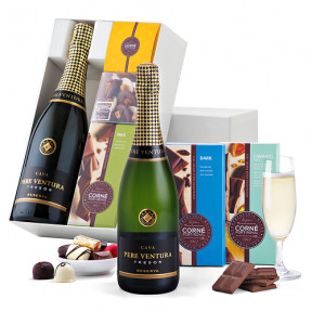 Cava Pere Ventura And Corne Port-Royal Chocolates