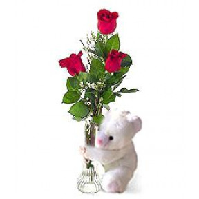 I-Love-U Roses With Teddy Bear In Vase