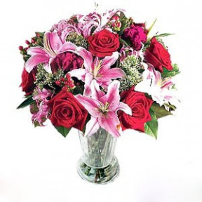 Six Roses And Pink Lily In Vase