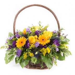 Purple & Gold Basket Arrangement (Standard)