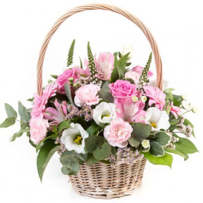 Pink and Cream Basket Arrangement (Small)