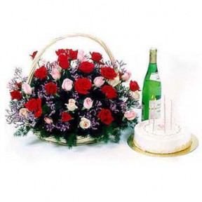 Rose Basket With Sparkling Non Alcoholic Juice And Cake