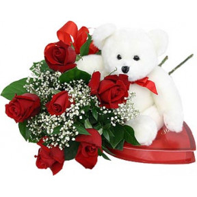 Red Roses With Chocolate And Bear