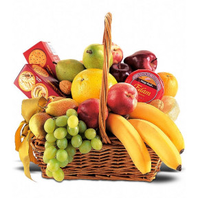 Fruit Basket With Chocolate, Crackers And Cheese