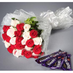 2 Dozen White And Red Roses Mix With Chocolate