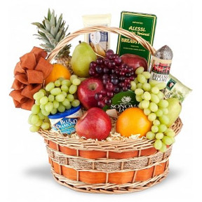 Fruits And Gourmet Basket With 1 Dozen Roses In Bouquet