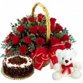 Skylark - 2.2 Pounds Black Forest Cake With 2 Dozen Red Roses And Bear