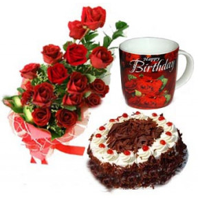 Red Roses With Black Forest Cake And Birthday Mug