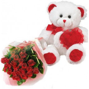 Teddy Bear With 1 Dz Red Roses And Red Heart