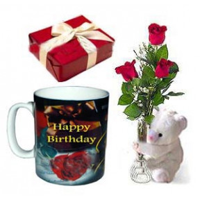 3 Pcs Red Roses In Vase With Bear, Chocolate And Birthday Mug
