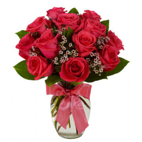 12Pcs Red Roses In A Vase