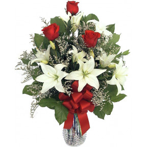 Lilies With Red Roses In A Vase