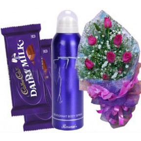 Roses With Women'S Body Spray And Chocolate