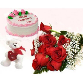 Cake With Roses And Teddy Bear With Text I Love You
