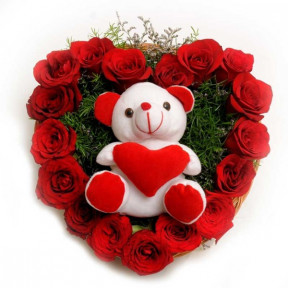 Heart Shaped Roses With Small Love Bear