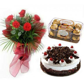 Swiss- 2.2 pounds Black Forest Cake - 6 pcs Red Roses & Ferrero Rocher choco