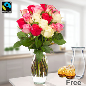 Bunch Of 19 Pastel-Coloured Roses With Vase
