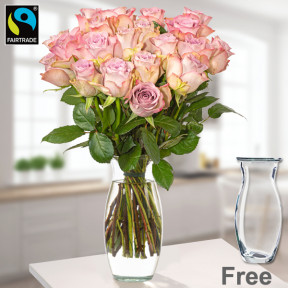 20 Pink Fairtrade Roses In A Bunch With Vase