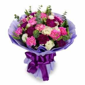 Mother's Day - Carnation Bouquet 35 (12 Stalks of Pink & Purple Carnations)
