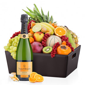 Leather Exotic Fruit Hamper and Veuve Clicquot