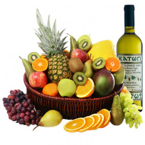 Exotic Fruits And White Wine In A Basket (small)