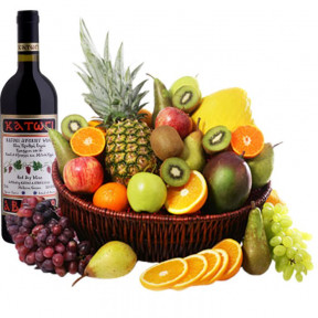 Basket With Exotic Fruits And Red Wine (small)