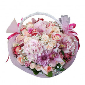 Pink Flowers In Basket (small)