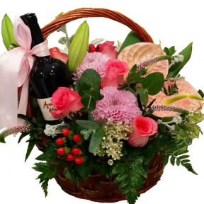 Beautiful Flowers In Basket With Wine (small)