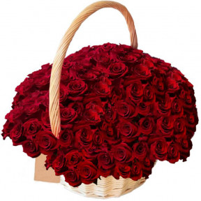 100 Red Roses In Basket