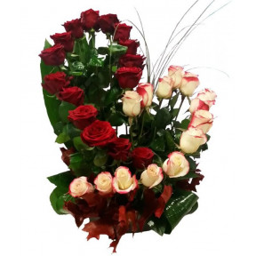 Tall Heart Shaped Rose Arrangement