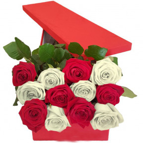 12 Red And White Roses In Gift Box