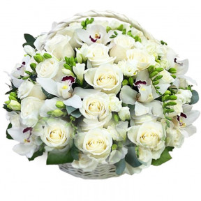Basket With White Roses And Ochids (small)