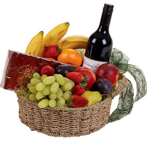 Basket With Fruits, Wine And Chocolates (small)