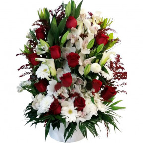 Tall Arrangement With Red And White Flowers (small)